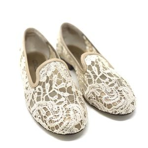 Chico's Aggie Beige Lace Loafer